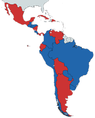 In blue countries under right-wing governments and in red countries under left-wing and centre-left governments as of 2020