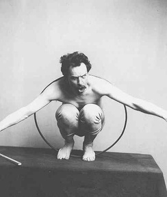 """Franz Boas posing for figure in US Natural History Museum exhibit entitled ""Hamats'a coming out of secret room"" 1895 or before. Courtesy of National Anthropology Archives. (Kwakiutl culture)"