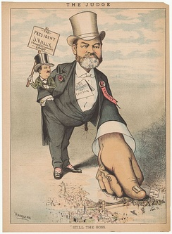 This cartoon describes the aftermath of the fight for the Democratic Presidential nomination in 1884.