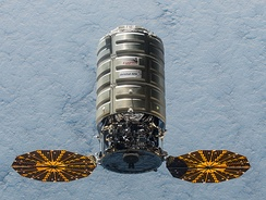 The spacecraft Cygnus transporting cargo to the ISS on behalf of NASA.