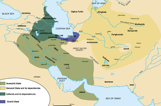 Map of the Iranian dynasties in the mid 10th-century.