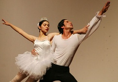 Two ballet dancers of the Iraqi National Ballet (which is based in Baghdad) performing a ballet show in Iraq in 2007.