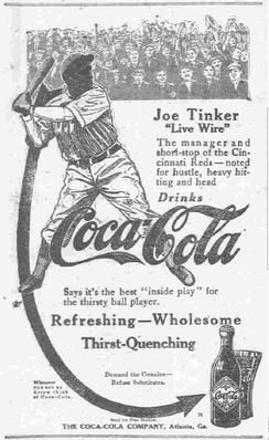 Joe Tinker in a Coca-Cola ad from 1913