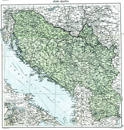 Map showing Yugoslavia in 1919 in the aftermath of World War I before the treaties of Neuilly, Trianon and Rapallo (note that this map does not reflect any internationally established borders or armistice lines - it only reflects the opinion of researchers from the London Geographical Institute about how final borders will look after Paris Peace Conference)