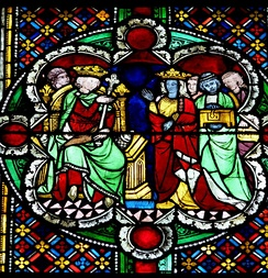Queen of Sheba and Solomon, around 1280, window nowadays in Cologne Cathedral