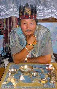 A shaman doctor of Kyzyl, 2005. Attempts are being made to preserve and revitalize Tuvan shamanism:[122] former authentic shamans have begun to practice again, and young apprentices are being educated in an organized way.[123]