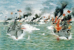 The Asiatic Squadron destroying the Spanish fleet in the Battle of Manila Bay on May 1, 1898