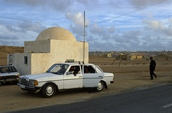 A police checkpoint in the suburbs of Laayoune