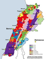 Distribution of Lebanon's religious groups according to 2009 municipal election data.