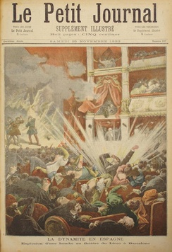Explosion of Liceu of Barcelona by the anarchist Santiago Salvador in the cover of the newspaper Le Petit Journal, 7 November 1893