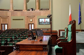 Marshal's chair in the Sejm, lower chamber of the Polish Parliament