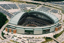 Miller Park, with a fan style roof.