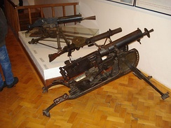 Collection of old machine guns in the Međimurje County Museum (Čakovec, Croatia). From rear to front: Austro-Hungarian Schwarzlose M7/12, British Lewis, German MG 08.