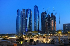 Etihad Towers in the evening