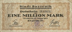 1923 emergency money: voucher for a million marks