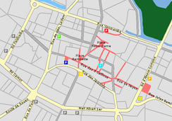 Map of parking in the city centre of Amiens in 2009.   Town Hall  Halles  Jacobins  Trois Cailloux  Saint-Leu  Amiens 2  Perret  Free outdoor parking