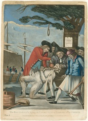 In the foreground, five leering men of the Sons of Liberty are holding down a Loyalist Commissioner of Customs agent, one holding a club. The agent is tarred and feathered, and they are pouring scalding hot tea down his throat. In the middle ground is the Boston Liberty Tree with a noose hanging from it. In the background, is a merchant ship with protestors throwing tea overboard into the harbor.
