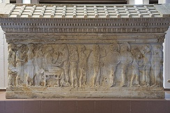 Polyxena Sarcophagus in Troy Museum, named after the depiction of the sacrifice of Polyxena, the last act of the Greeks at Troy.