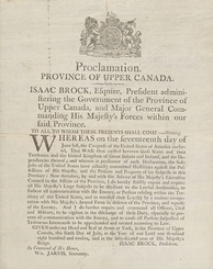 Proclamation by Isaac Brock in response to the U.S. declaration of war