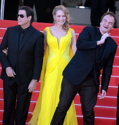 John Travolta, Uma Thurman and Quentin Tarantino at the 2014 Cannes Film Festival, for the film's 20th anniversary tribute.