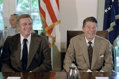 Heston with President Ronald Reagan during a meeting for the Presidential Task Force on the Arts and Humanities in the White House Cabinet Room, 1981