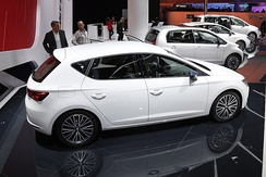 A white SEAT Leon CONNECT edition at the Frankfurt Motor Show