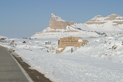 Winter at Scotts Bluff National Monument.