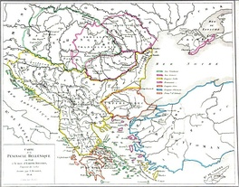 Serbian Empire in 1358 according to Louis Etienne Dussieux.