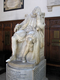 Memorial to Bacon in the chapel of Trinity College, Cambridge