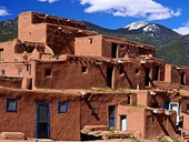 Taos Pueblo, an ancient pueblo belonging to a Taos-speaking (Tiwa) Native American tribe of Puebloan people, in Taos Pueblo, (New Mexico, USA)