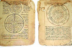 The pages above are from Timbuktu Manuscripts written in Sudani script (a form of Arabic) from the Mali Empire showing established knowledge of astronomy and mathematics. Today there are close to a million of these manuscripts found in Timbuktu alone.