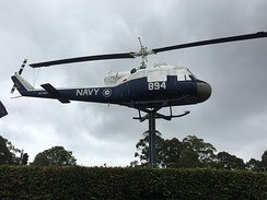 An RAN UH-1B pole-mounted at Nowra