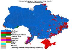 Russophone population in Ukraine (shown in red)