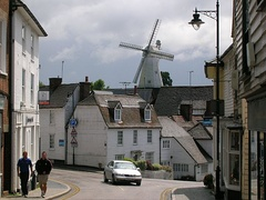 White windmill and white wooden houses in Cranbrook