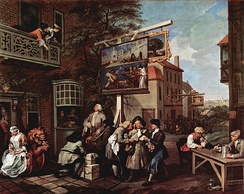 Canvassing for Votes, part of William Hogarth's Humours of an Election series, depicts the political corruption endemic in election campaigns prior to the Great Reform Act.