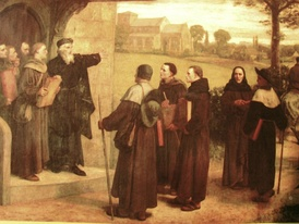 "William Frederick Yeames, Wyclif Giving ""The Poor Priests"" His Translation of the Bible"