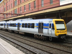 An 'X'Trapolis' in livery of former commuter-service provider Connex, now succeeded by Metro Trains Melbourne