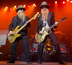 ZZ Top performing at the Majestic Theatre in San Antonio in 2015