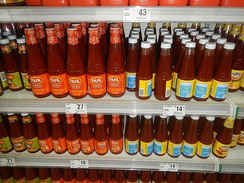 Various brands of banana ketchup from the Philippines