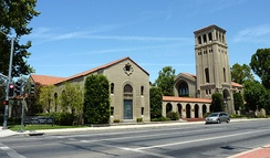 The First Baptist Church building, which survived the 1952 earthquake and is now a commercial-use structure, is one of several buildings in Bakersfield listed on the National Register of Historic Places.