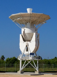 A tracking station antenna (pictured) installed at the SpaceX South Texas launch site