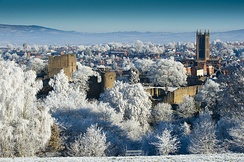 The skyline of Ludlow, one of south Shropshire's market towns, dominated by its sizeable castle and church.