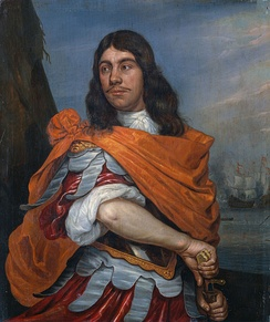 Cornelis Tromp by Abraham Evertsz. van Westerveld (ca. 1666). Tromp is pictured in Roman costume. His orangist sympathies are reflected by the color of his mantle.