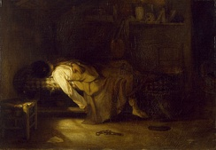 In this painting by Alexandre-Gabriel Decamps, the palette, pistol, and note lying on the floor suggest that the event has just taken place; an artist has taken his own life[238]