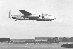 Avro Sapphire Lancastrian testbed demonstrating on its two jets with its Merlins feathered at Coventry Airport in June 1954