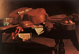 Baroque instruments, including a hurdy-gurdy, harpsichord, bass viol, lute, violin, and guitar.