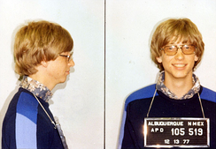 Mugshots of 22-year-old Gates following his 1977 arrest for a traffic violation in Albuquerque, New Mexico
