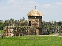 Reconstructed Biskupin fortified settlement of the Lusatian culture, 8th century BC