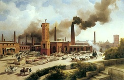 Gründerzeit primarily refers to the entrepreneurial boom of late 19th-century Germany. Machine and locomotive ironworks of Borsig AG in Berlin's Feuerland, 1847 painting by Karl Eduard Biermann