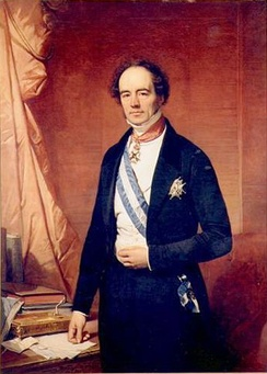 Portrait of Barthélémy de Theux de Meylandt wearing the Grand Cross, including blue and white sash of the Order